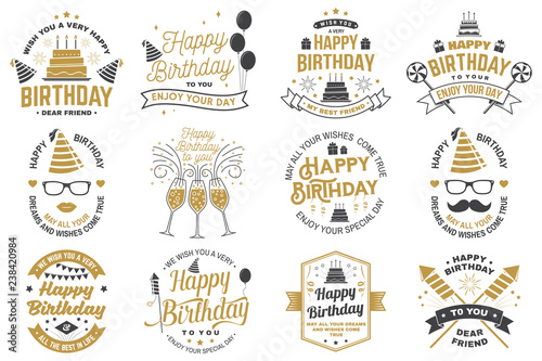 Obraz Set of Happy Birthday templates for overlay, badge, card with bunch of balloons, gifts, firework rockets and birthday cake with candles. Vector. Vintage design for birthday celebration - fototapety do salonu