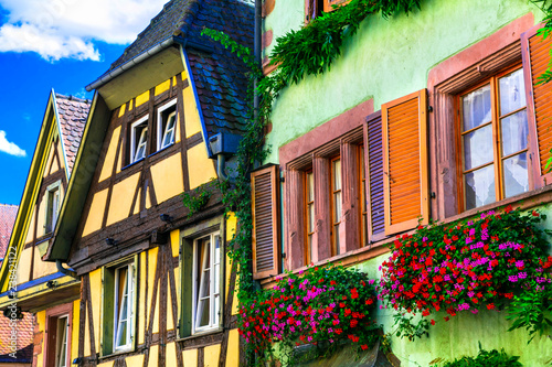 Traditional colorful houses .beautiful village of France Riquewihr in Alsace