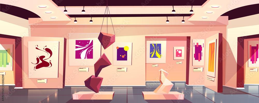 Muzeum lub galeria sztuki wystawa wnętrze wektor kreskówka z kolekcji kolorowych obrazów współczesnych i abstrakcyjnych na ścianach i rzeźby geometryczne wizualne przedstawienie w hali ilustracji.