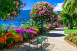 """canvas print picture - Lago Maggiore - beautiful """"Isola madre"""" with ornamental floral gardens. Northen Italy"""