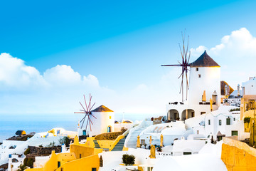 Panel Szklany Podświetlane Do restauracji View of Oia the most beautiful village of Santorini island in Greece.