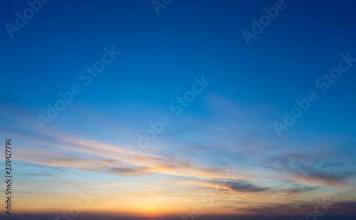 Obraz na plátne Colorful sunset sky over tranquil sea surface
