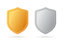 Gold And Silver Metal Shield Icon