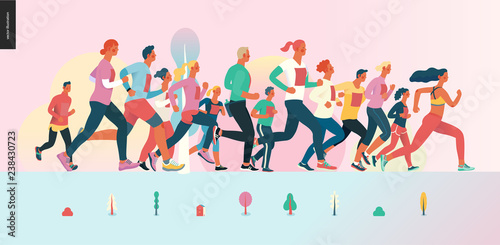 Foto  Marathon race group - flat modern vector concept illustration of running men and women wearing winter sportswer