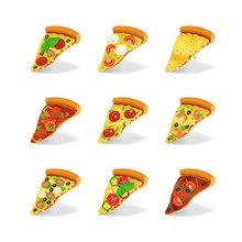 Realistic 3d Detailed Pizza Slices Set. Vector