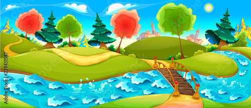 Poster Kinderkamer Funny landscape with river, trees and town on the horizon