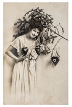 Young Woman Christmas Tree Decorations Vintage Picture