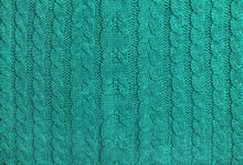 Turquoise Colored Knitted Wool Background Knitting Pattern