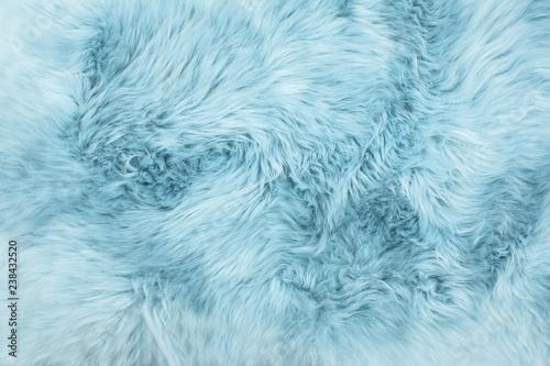 Leinwand Poster Sheep fur Blue colored sheepskin rug background texture