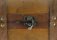 Metal Fasteners On A Leather Suitcase.