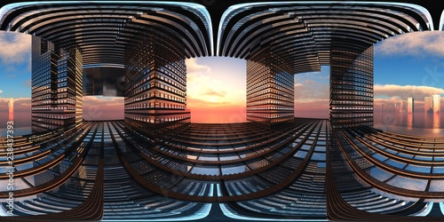 HDRI, environment map , Round panorama, spherical panorama, equidistant projection, Production plant, abstraction