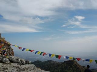 Tibetan flags on a mountain