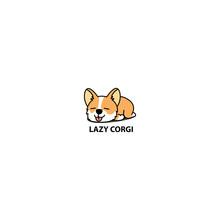Lazy Welsh Corgi Puppy Sleeping Icon, Vector Illustration