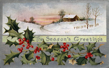 Vintage Christmas Postcard Illustration Seasons Greetings Holly Country Snow