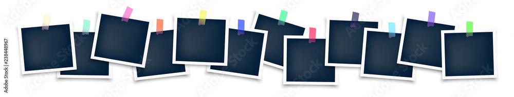 Fototapety, obrazy: Photo frames mockup glued with color tape . Realistic empty templates. Polaroid mockup
