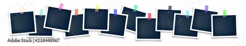 Obraz Photo frames mockup glued with color tape . Realistic empty templates. Polaroid mockup - fototapety do salonu