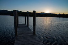 Derwent Water Pier At Sunset
