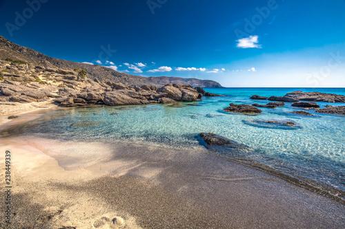 Fotobehang Canarische Eilanden Kedrodasos beach near Elafonissi beach on Crete island with azure clear water, Greece, Europe