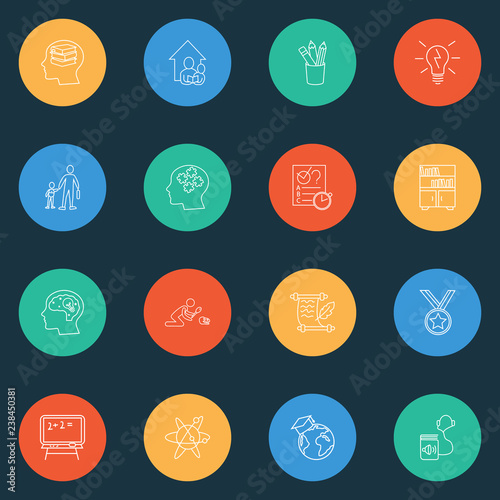 Foto  Education icons line style set with primary school, blackboard, astrophysics and other graduate
