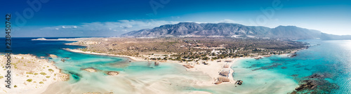 Fotobehang Tropical strand Aerial view of Elafonissi beach on Crete island with azure clear water, Greece, Europeof Elafonissi beach on Crete island with azure clear water, Greece, Europe