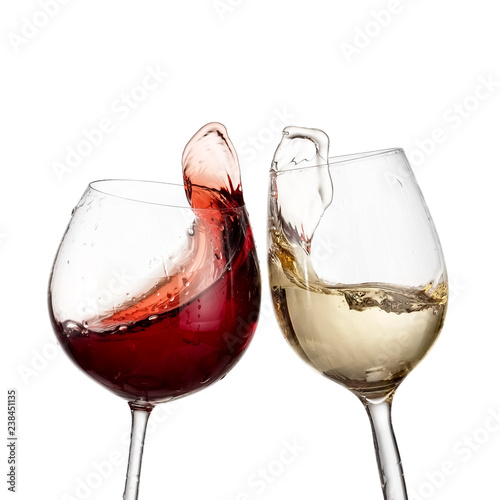 Fotografie, Obraz  Red and white wine up