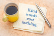 Kind words cost nothing - note on napkin