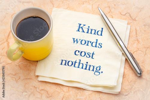 Fotografie, Obraz  Kind words cost nothing - note on napkin