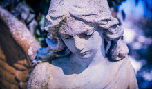Antique Statue Of Sad Angel As A Symbol Of Eternity, Life And Death. Religion Concept.