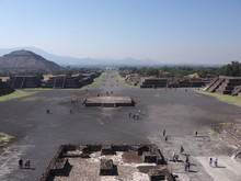 Wonderful Avenue Of The Dead And Pyramid Of The Sun On Left At Teotihuacan Ruins Near Mexico City Landscape