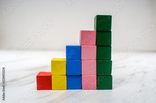 Bar Graph Toy Blocks Wallpaper Mural