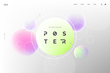 Abctract Vector Fluid Background With Colored Spheres. Homepage Template In Light Pastel Colors. Modern Neon Shapes Composition. Abstract Geometric Backdrop. Eps 10.