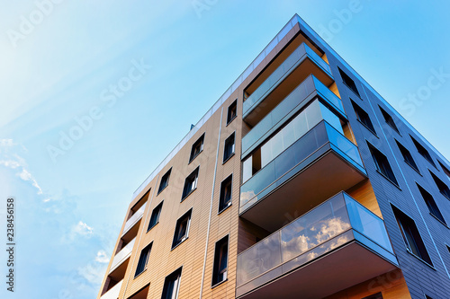 New modern apartment building exterior Wallpaper Mural