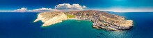 Aerial View Of Matala Beach On Crete Island With Azure Clear Water, Greece, Europe