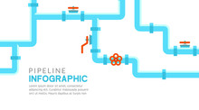 Pipeline Infographic. Oil, Water Or Gas Flat Valve Vector Design. Pipeline Construction Isolated