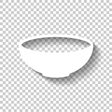 Empty Bowl Icon. Sign Of Kitchen. White Icon With Shadow On Transparent Background