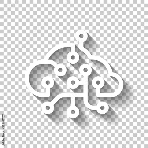 Cloud Data Network Storage Center Icon Of Internet Technology White Icon With Shadow On Transparent Background Buy This Stock Vector And Explore Similar Vectors At Adobe Stock Adobe Stock