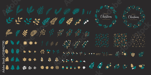 Photo  Set of Christmas elements for typographic design