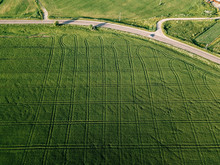 Aerial View Of Agricultural Landscape During Sunny Day