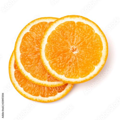 Fényképezés Orange fruit slice  isolated on white background closeup