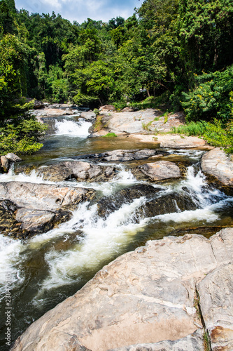 Fototapeten Forest river Water flowing in Mae Klang waterfall