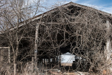 View Of Abandoned Wooden Barn At Farm