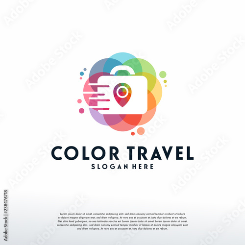Colorful Travel Point Logo Vector Suitcase Designs Template Design Concept Logotype Element For