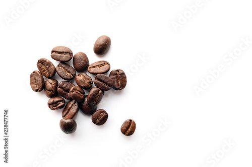 Deurstickers koffiebar Coffee beans on white background.