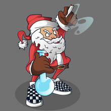 Santa High With Checkerboard Shoes