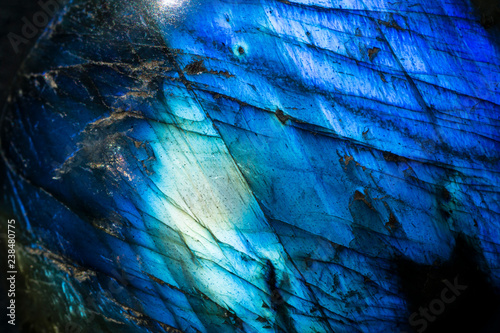 Poster Textures Macro photo of a cobalt blue crystal moonstone labradorite stone.