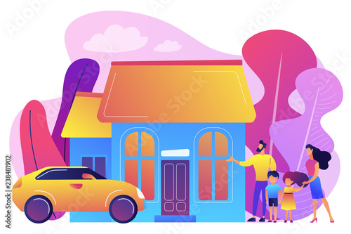 Happy parents with children and detached house. Single-family detached home, family house, detached residence and single dwelling unit concept. Bright vibrant violet vector isolated illustration