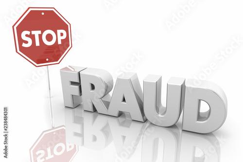 Canvastavla Stop Fraud Sign End Crime Theft 3d Illustration