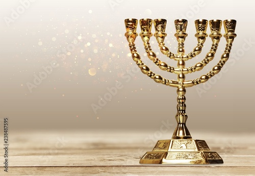Fotografie, Obraz Golden religious menorah isolated on white
