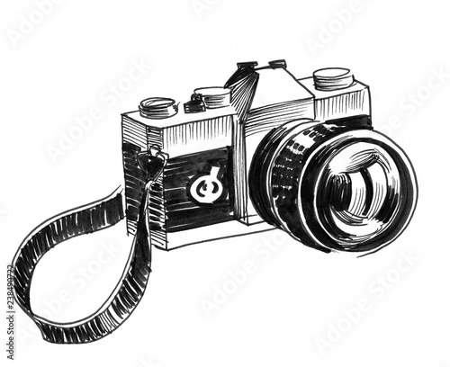 Retro camera on white background. Ink black and white drawing Wall mural