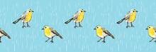 Cute Hand-drawn Yellow Birds S...